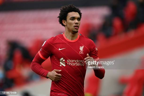Trent Alexander-Arnold of Liverpool during the Premier League match between Liverpool and Crystal Palace at Anfield on May 23, 2021 in Liverpool,...