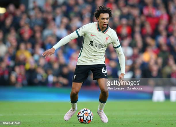 Trent Alexander-Arnold of Liverpool during the Premier League match between Manchester United and Liverpool at Old Trafford on October 24, 2021 in...