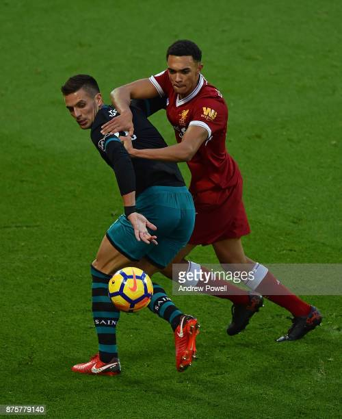 Trent AlexanderArnold of Liverpool during the Premier League match between Liverpool and Southampton at Anfield on November 18 2017 in Liverpool...