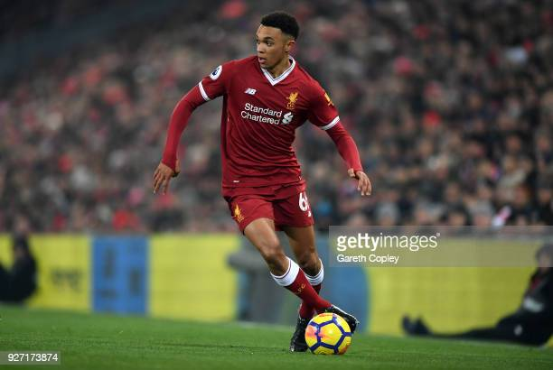 Trent AlexanderArnold of Liverpool during the Premier League match between Liverpool and Newcastle United at Anfield on March 3 2018 in Liverpool...
