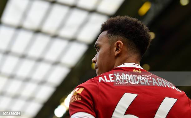 Trent AlexanderArnold of Liverpool during the Premier League match between Liverpool and Stoke City at Anfield on April 28 2018 in Liverpool England
