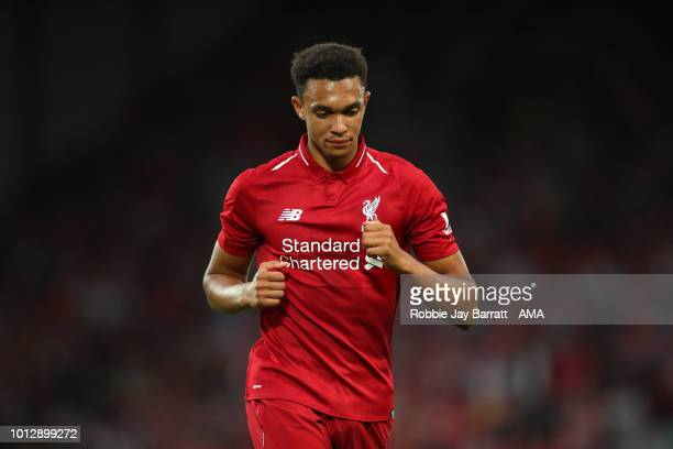 Trent AlexanderArnold of Liverpool during the preseason friendly between Liverpool and Torino at Anfield on August 7 2018 in Liverpool England