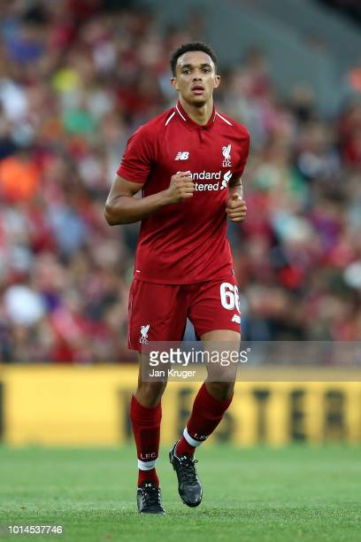 Trent AlexanderArnold of Liverpool during the preseason friendly match between Liverpool and Torino at Anfield on August 7 2018 in Liverpool England