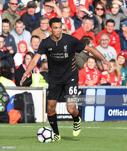 Trent AlexanderArnold of Liverpool during the PreSeason Friendly match bewteen Fleetwood Town and Liverpool at Highbury Stadium on July 13 2016 in...