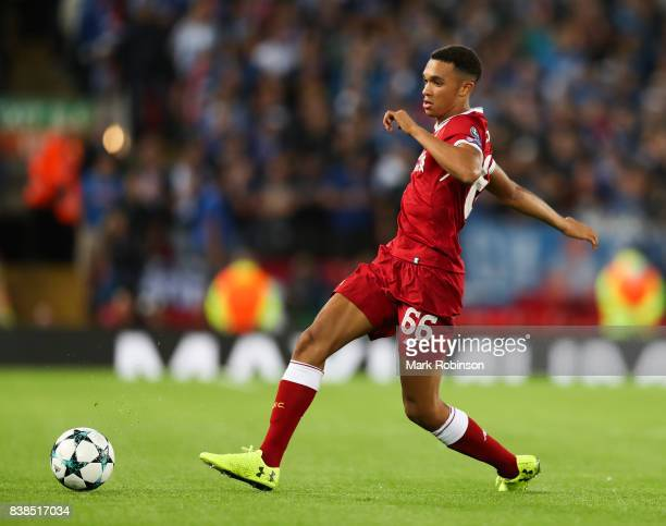 Trent AlexanderArnold of Liverpool during the UEFA Champions League Qualifying PlayOffs round second leg match between Liverpool FC and 1899...