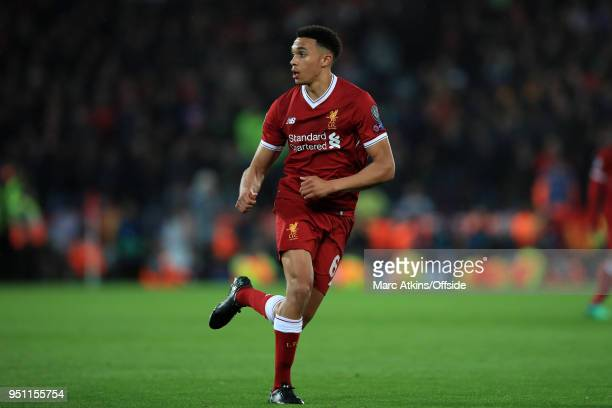 Trent AlexanderArnold of Liverpool during the UEFA Champions League Semi Final First Leg match between Liverpool and AS Roma at Anfield on April 24...