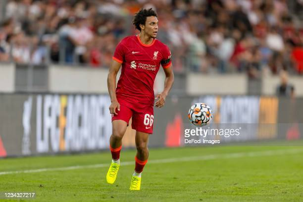 Trent Alexander-Arnold of Liverpool FC controls the ball during the Pre-Season Friendly match between Hertha BSC and FC Liverpool at Tivoli Stadion...