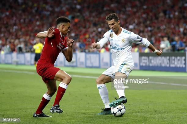 Trent AlexanderArnold of Liverpool FC Cristiano Ronaldo of Real Madrid during the UEFA Champions League final between Real Madrid and Liverpool on...
