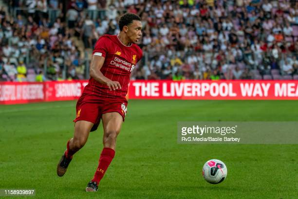 Trent Alexander-Arnold of Liverpool FC in action during the Pre-Season Friendly match between Liverpool FC and Olympique Lyonnais at Stade de Geneve...