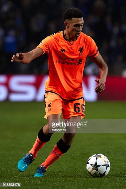 Trent AlexanderArnold of Liverpool FC in action during the UEFA Champions League Round of 16 First Leg match between FC Porto and Liverpool FC at...