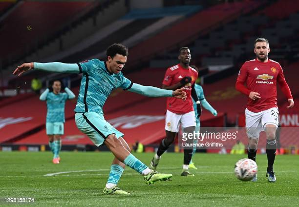 Trent Alexander-Arnold of Liverpool has a shot at goal during The Emirates FA Cup Fourth Round match between Manchester United and Liverpool at Old...