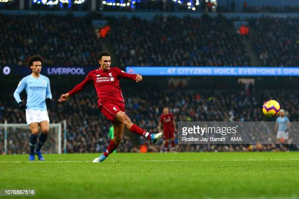 Trent AlexanderArnold of Liverpool has a shot during the Premier League match between Manchester City and Liverpool FC at Etihad Stadium on January 3...