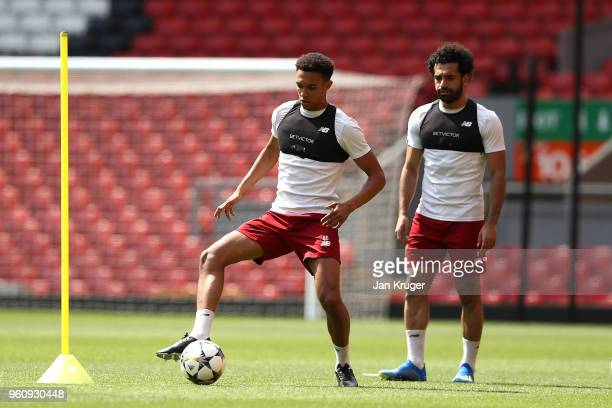 Trent AlexanderArnold of Liverpool in action during a training session ahead of the UEFA Champions League final with Real Madrid on May 21 2018 in...