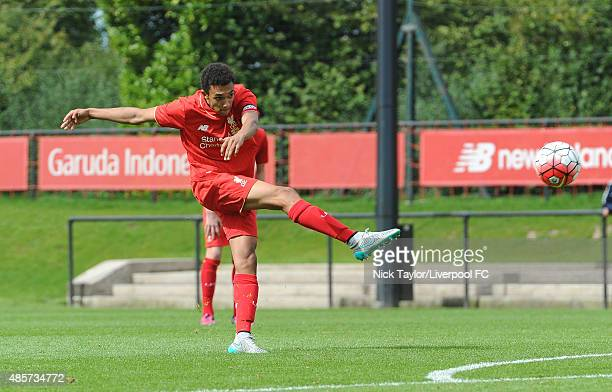 Trent AlexanderArnold of Liverpool in action during the Liverpool v Blackburn Rovers U18 Premier League game at the Liverpool FC Academy on August 29...