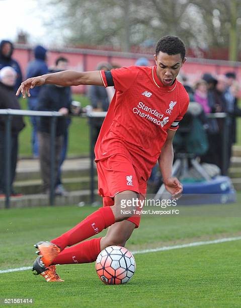 Trent AlexanderArnold of Liverpool in action during the Liverpool v Manchester City U18 Premier League game at the Kirkby Academy on April 16 2016 in...