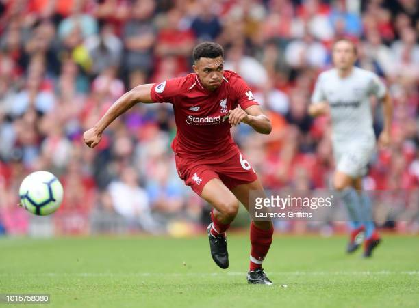 Trent AlexanderArnold of Liverpool in action during the Premier League match between Liverpool FC and West Ham United at Anfield on August 12 2018 in...