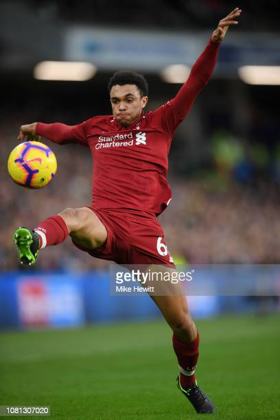 Trent AlexanderArnold of Liverpool in action during the Premier League match between Brighton Hove Albion and Liverpool FC at American Express...