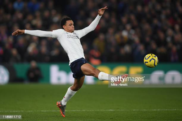 Trent AlexanderArnold of Liverpool in action during the Premier League match between Crystal Palace and Liverpool FC at Selhurst Park on November 23...