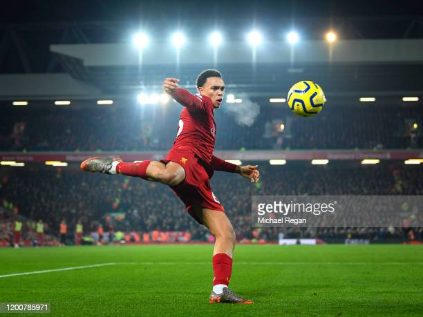 Trent Alexander-Arnold of Liverpool in action during the Premier League match between Liverpool FC and Manchester United at Anfield on January 19,...