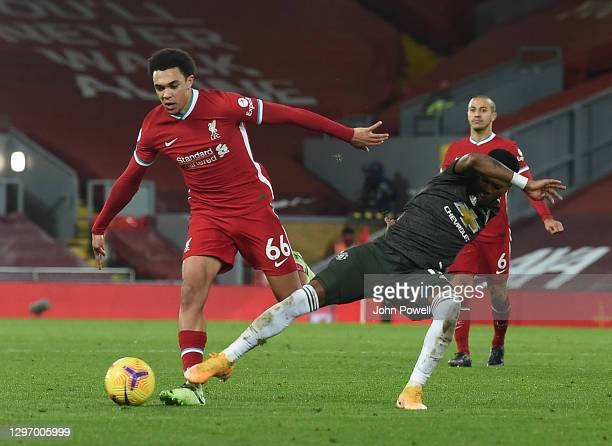 Trent Alexander-Arnold of Liverpool in action during the Premier League match between Liverpool and Manchester United at Anfield on January 17, 2021...
