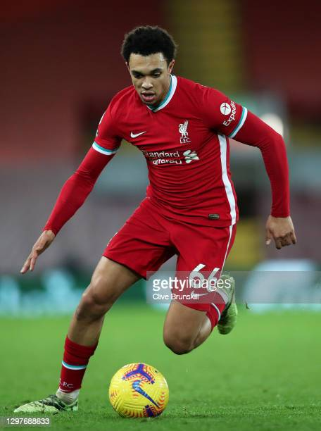Trent Alexander-Arnold of Liverpool in action during the Premier League match between Liverpool and Burnley at Anfield on January 21, 2021 in...
