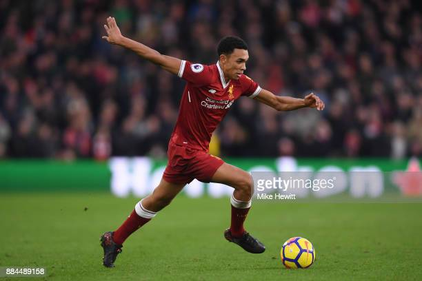 Trent AlexanderArnold of Liverpool in action during the Premier League match between Brighton and Hove Albion and Liverpool at Amex Stadium on...