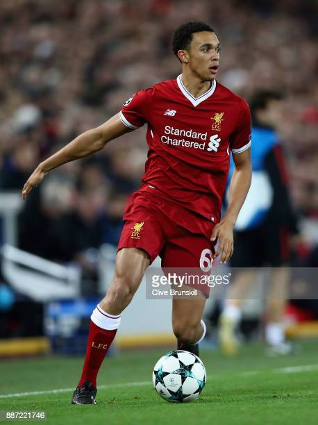 Trent AlexanderArnold of Liverpool in action during the UEFA Champions League group E match between Liverpool FC and Spartak Moskva at Anfield on...