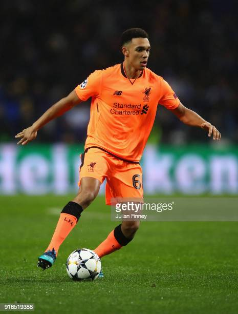Trent AlexanderArnold of Liverpool in action during the UEFA Champions League Round of 16 First Leg match between FC Porto and Liverpool at Estadio...