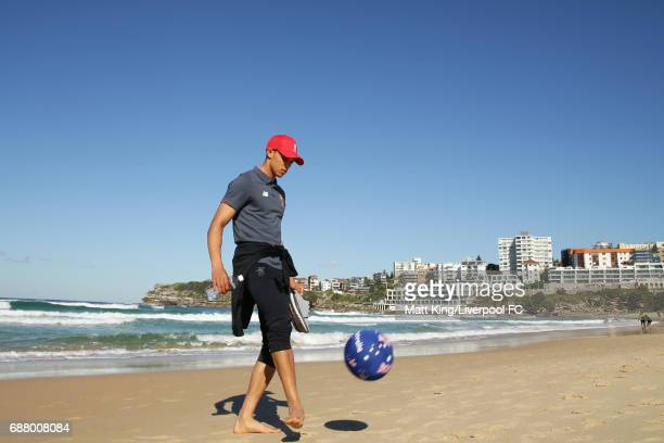 Trent AlexanderArnold of Liverpool kicks a football during a Liverpool FC Fan Day at Bondi Beach on May 25 2017 in Sydney Australia