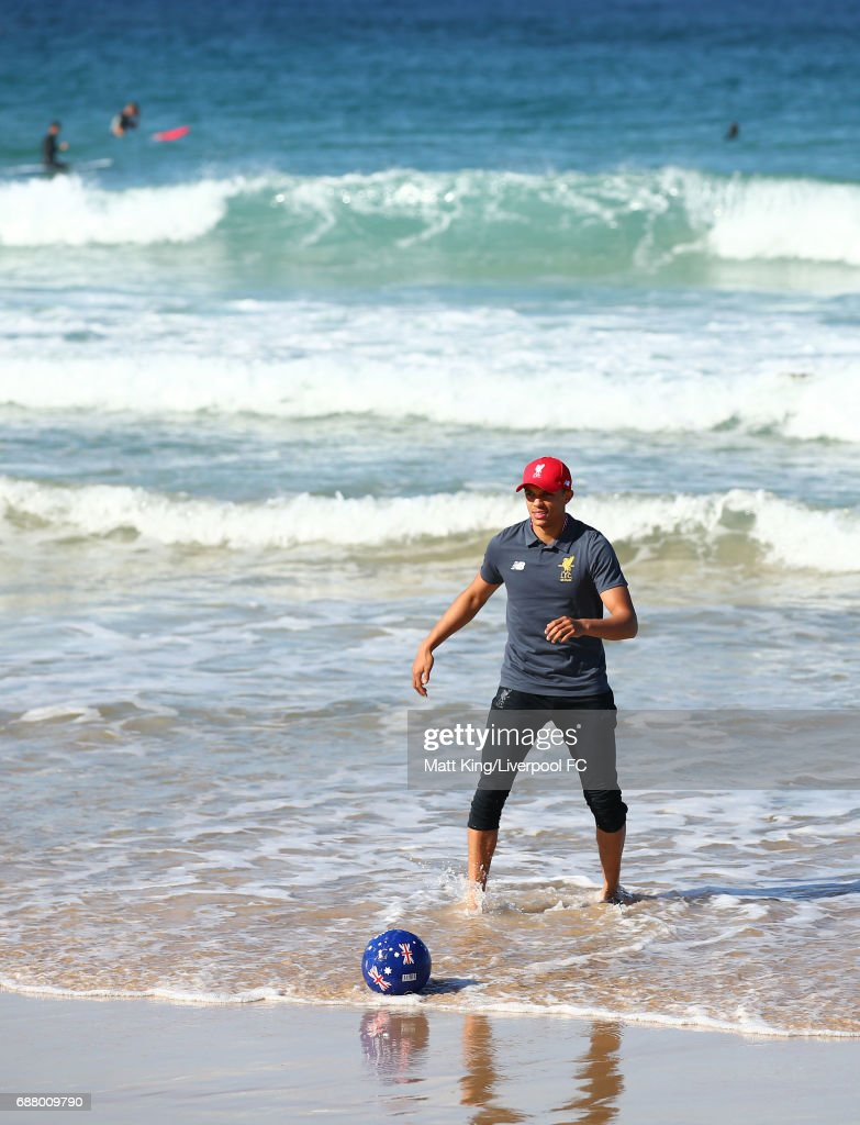 Trent Alexander-Arnold of Liverpool kicks a football during a Liverpool FC Fan Day at Bondi Beach on May 25, 2017 in Sydney, Australia.