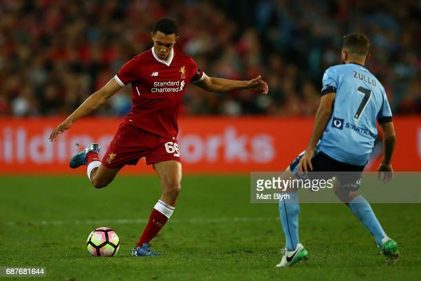 Trent AlexanderArnold of Liverpool kicks the ball during the International Friendly match between Sydney FC and Liverpool FC at ANZ Stadium on May 24...