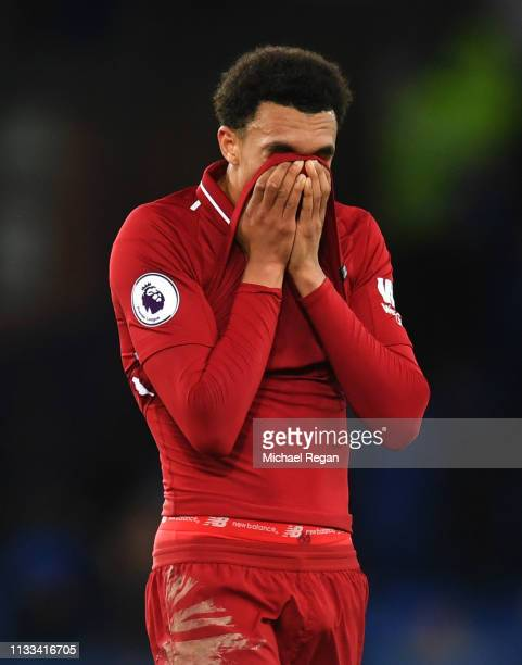 Trent AlexanderArnold of Liverpool looks despondent after the Premier League match between Everton FC and Liverpool FC at Goodison Park on March 03...