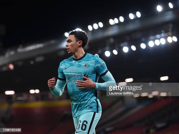 Trent Alexander-Arnold of Liverpool looks on during The Emirates FA Cup 4th Round match between Manchester United and Liverpool at Old Trafford on...