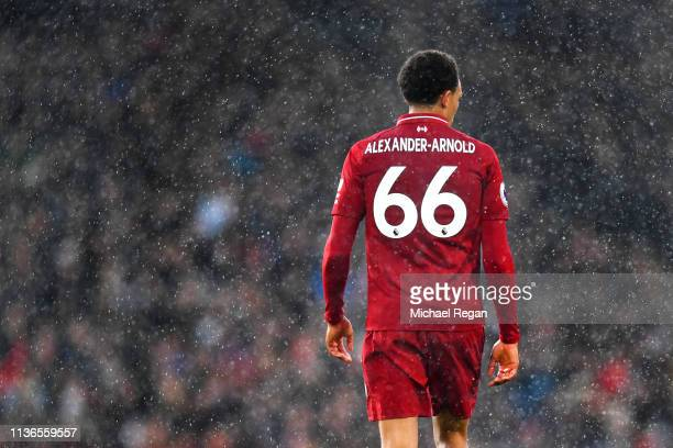 Trent AlexanderArnold of Liverpool looks on during the Premier League match between Fulham FC and Liverpool FC at Craven Cottage on March 17 2019 in...
