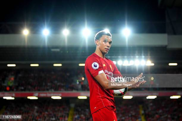 Trent AlexanderArnold of Liverpool looks on during the Premier League match between Liverpool FC and Norwich City at Anfield on August 09 2019 in...
