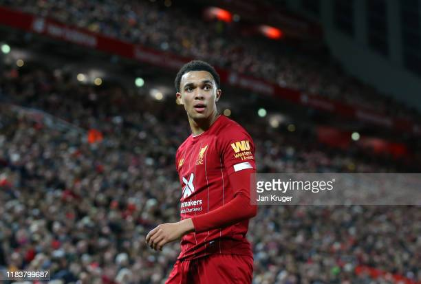 Trent AlexanderArnold of Liverpool looks on during the Premier League match between Liverpool FC and Tottenham Hotspur at Anfield on October 27 2019...
