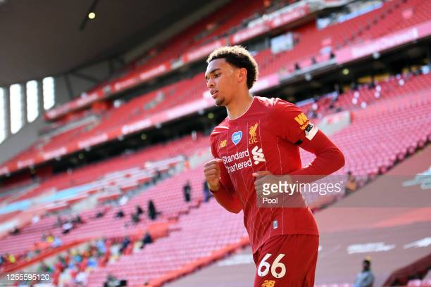 Trent AlexanderArnold of Liverpool looks on during the Premier League match between Liverpool FC and Burnley FC at Anfield on July 11 2020 in...