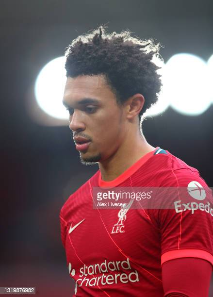 Trent Alexander-Arnold of Liverpool looks on during the Premier League match between Liverpool and Crystal Palace at Anfield on May 23, 2021 in...