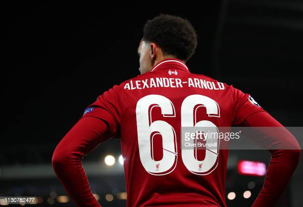 Trent AlexanderArnold of Liverpool looks on during the UEFA Champions League Round of 16 First Leg match between Liverpool and FC Bayern Muenchen at...