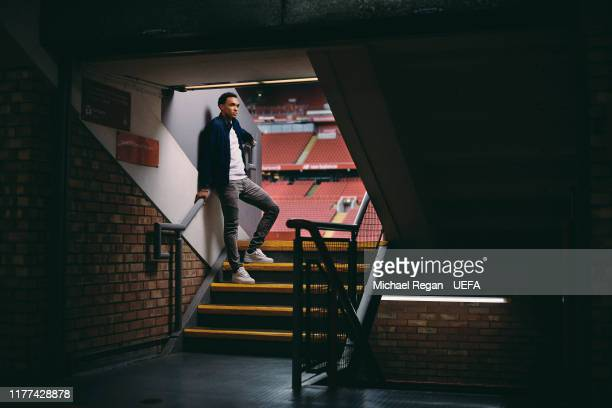 Trent Alexander-Arnold of Liverpool poses at Anfield on August 27, 2019 in Liverpool, England.
