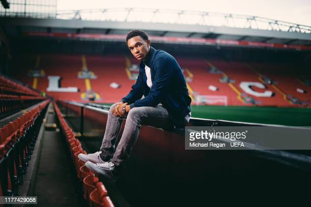 Trent AlexanderArnold of Liverpool poses at Anfield on August 27 2019 in Liverpool England