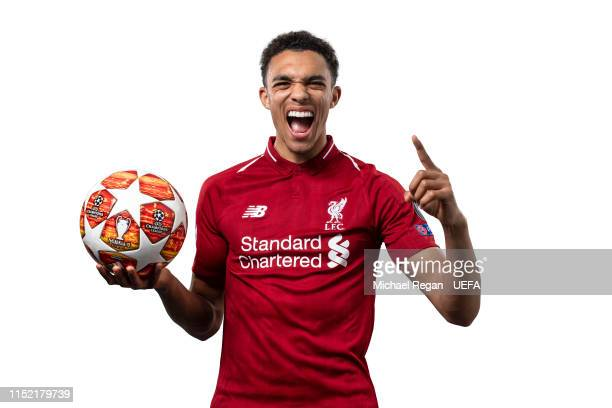 This image was digitally altered Trent AlexanderArnold of Liverpool poses for a photo during the Liverpool FC UEFA Champions League Final Preview...