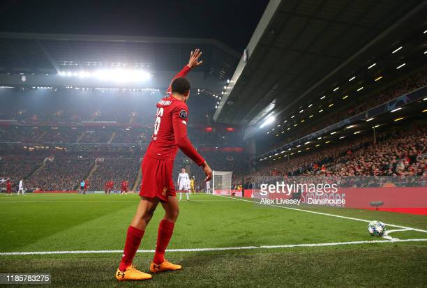 Trent Alexander-Arnold of Liverpool prepares to take a corner during the UEFA Champions League group E match between Liverpool FC and KRC Genk at...