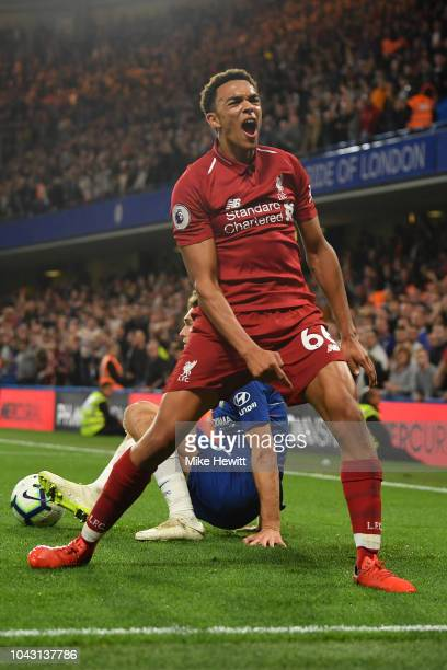 Trent AlexanderArnold of Liverpool queries a linesman's decision during the Premier League match between Chelsea FC and Liverpool FC at Stamford...