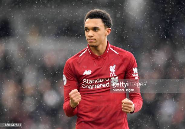Trent AlexanderArnold of Liverpool reacts during the Premier League match between Fulham FC and Liverpool FC at Craven Cottage on March 17 2019 in...
