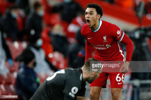 Trent Alexander-Arnold of Liverpool reacts during the Premier League match between Liverpool and Manchester United at Anfield on January 17, 2021 in...