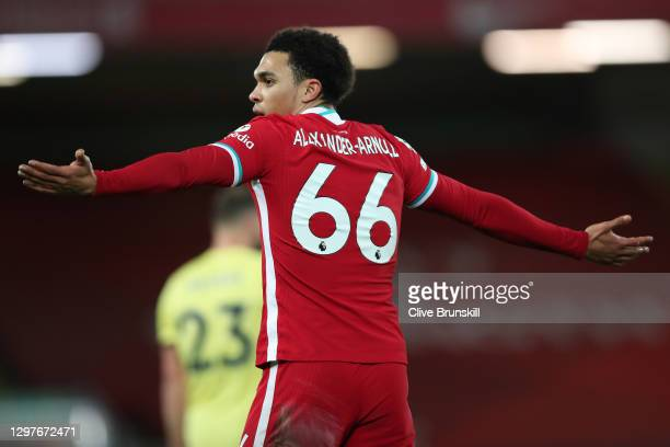 Trent Alexander-Arnold of Liverpool reacts during the Premier League match between Liverpool and Burnley at Anfield on January 21, 2021 in Liverpool,...