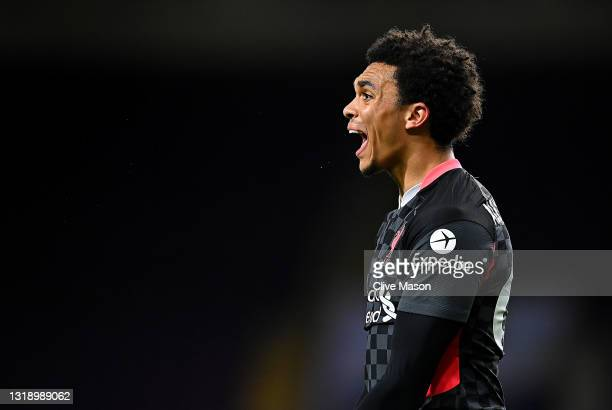 Trent Alexander-Arnold of Liverpool reacts during the Premier League match between Burnley and Liverpool at Turf Moor on May 19, 2021 in Burnley,...