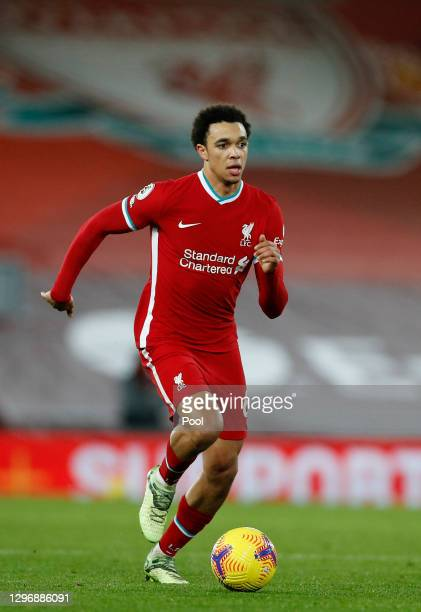 Trent Alexander-Arnold of Liverpool runs with the ball during the Premier League match between Liverpool and Manchester United at Anfield on January...
