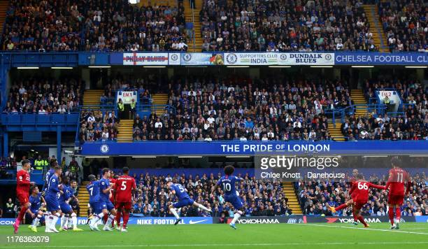 Trent AlexanderArnold of Liverpool scores his teams first goal during the Premier League match between Chelsea FC and Liverpool FC at Stamford Bridge...